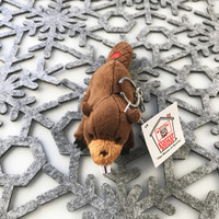 "Stuffed Animal House 4"" Brown Beaver Keychain Wild North American Realistic Zipper Pull Mini Key Chain Tiny Buck Teeth Embroidered Red Canadian Maple Leaf Soft Furry Fuzzy Plush Clip Backpack Critter Canada Soft Toy NB-99 Front"