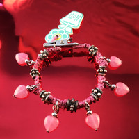 HOTI Hemp Handmade Pretty Pink Heart Love Rocks Pink Hemp Fancy Metal Silver Spike Beads Ladies Womens Charm Bracelet Made in Canada Hand Crafted Made in Toronto Made in Ontario Boho Chic Valentine Beaded Pressed Glass Hearts Charms Clip-It 420 Marijuana Cannabis Alligator Clip Clasp Roach Clip Rock Toronto Ontario Canada