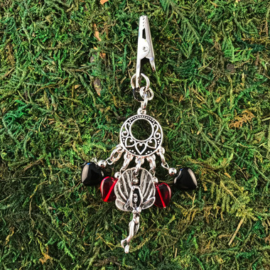 HOTI Hemp Handmade Black Red Glass Hearts Charms Silver Metal Flying Winged Fairy Charm Angel Pendant Roach Clip Heart Beads Love Soars Rocks Chandelier Made in Canada Hand Crafted Made in Toronto Made in Ontario Valentine Fantasy Clip-It 420 Marijuana Cannabis Weed Alligator Clip Rock Ladies Women's Mary Jane Accessory Dope Accessories Blunt Joint Holder Stoner Gift Toronto Ontario Canada Canadian Made