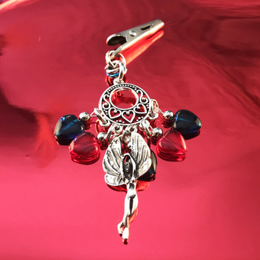 HOTI Hemp Handmade Red Blue Glass Hearts Charms Silver Metal Flying Winged Fairy Charm Angel Pendant Roach Clip Heart Beads Love Soars Rocks Chandelier Made in Canada Hand Crafted Made in Toronto Made in Ontario Valentine Fantasy Clip-It 420 Marijuana Cannabis Weed Alligator Clip Rock Ladies Women's Toronto Ontario Canada Canadian Made