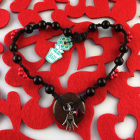 HOTI Hemp Handmade Blood Fire Red Jasper Donut of Healing Hand Glass Heart Charms Wood Bead Black Hemp Crystal Stone Mineral Beads Pewter Metal Charm Ladies Women's DOH! Collection Knotted Necklace Hand Crafted Made in Toronto Made in Ontario Made in Canada Boho Chic Beaded Toronto Ontario Canada Canadian Made