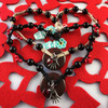 HOTI Hemp Handmade Blood Fire Red Jasper Donut of Healing Hand Glass Heart Charms Wood Bead Black Natural Hemp Crystal Stone Mineral Beads Pewter Metal Charm Ladies Women's DOH! Collection Knotted Necklace Hand Crafted Made in Toronto Made in Ontario Made in Canada Boho Chic Beaded Toronto Ontario Canada Canadian Made