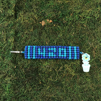 HOTI Hemp 420 Handmade Turquoise Blue Beaded Roach Clip Cuff Bracelet Wood Crow Beads Ladies Womens Mens Unisex Woven Knotted Lightweight Stripes Made in Canada Hand Crafted Made in Toronto Made in Ontario 4:20 4/20 Marijuana Jewellery Cannabis Jewelry Weed Accessories Pot Accessory Alligator Clip Clasp Toronto Ontario Canada Canadian Number Time