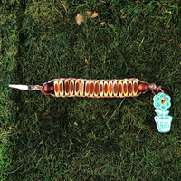 HOTI Hemp Handmade Brown Beige Natural Two Tone Beaded Roach Clip Cuff Bracelet Wood Oval Barrel Tube Two-Tone Round Beads Ladies Womens Mens Unisex Woven Knotted Lightweight Made in Canada Hand Crafted Made in Toronto Made in Ontario 420 Marijuana Jewellery Cannabis Jewelry Weed Accessories Pot Accessory Alligator Clip Clasp Toronto Ontario Canada Canadian Made