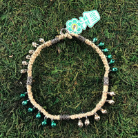 HOTI Hemp Handmade Natural Beige Hemp Anklet Green Silver Metal Steel Bells Ring My Bali Bell Belles Metallic Jingle Bells Waves Studs Tube Bali Style Antique Silver Beads Ladies Woman Girls Women's Ankle Bracelet Hand Crafted Made in Canada Made in Toronto Made in Ontario Bali Boho Chic Clasp-It Lobster Claw Clasp Toronto Ontario Canada Canadian