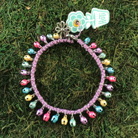 HOTI Hemp Handmade Light Purple Hemp Anklet Pastel Pink Purple Yellow Green Blue Mini Steel Metal Metallic Bells Ring My Bell Belles Ladies Women's Girls Jewellery for Woman Ankle Bracelet Hand Crafted Made in Canada Made in Toronto Made in Ontario Bali Boho Chic Clasp-It Lobster Claw Clasp Toronto Ontario Canada Canadian Jewelry
