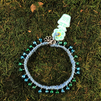 HOTI Hemp Handmade Light Blue Hemp Anklet Turquoise Blue Green Mini Steel Metal Metallic Bells Ring My Bell Belles Ladies Women's Girls Jewellery for Woman Ankle Bracelet Hand Crafted Made in Canada Made in Toronto Made in Ontario Bali Boho Chic Clasp-It Lobster Claw Clasp Toronto Ontario Canada Canadian Jewelry