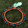 HOTI Hemp Handmade Orange Hemp Anklet Turquoise Blue Red Mini Steel Metal Metallic Bells Ring My Bell Belles Ladies Women's Girls Jewellery for Woman Ankle Bracelet Hand Crafted Made in Canada Made in Toronto Made in Ontario Bali Boho Chic Clasp-It Lobster Claw Clasp Toronto Ontario Canada Canadian Jewelry