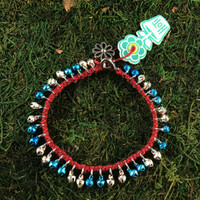 HOTI Hemp Handmade Burnt Red Hemp Anklet Turquoise Blue Silver Mini Steel Metal Metallic Bells Ring My Bell Belles Ladies Women's Girls Jewellery for Woman Ankle Bracelet Hand Crafted Made in Canada Made in Toronto Made in Ontario Bali Boho Chic Clasp-It Lobster Claw Clasp Toronto Ontario Canada Canadian Jewelry
