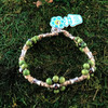 HOTI Hemp Handmade Beige Natural Hemp Maria Signature Flower Power Anklet Green Wood Silver Metal Beads Tube Dog Bone Beaded Flowers Floral Ladies Women's Jewellery Woman Girls Ankle Bracelet Hand Crafted Made in Canada Made in Toronto Made in Ontario Boho Chic Clasp-It Lobster Claw Clasp Toronto Ontario Canada Canadian Jewelry
