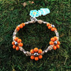 HOTI Hemp Handmade Beige Natural Hemp Maria Signature Flower Power Anklet Orange Wood Silver Metal Beads Tube Dog Bone Beaded Flowers Floral Ladies Women's Jewellery Woman Girls Ankle Bracelet Hand Crafted Made in Canada Made in Toronto Made in Ontario Boho Chic Clasp-It Lobster Claw Clasp Toronto Ontario Canada Canadian Jewelry