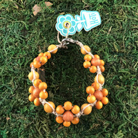HOTI Hemp Handmade Beige Natural Hemp Daisy Chain Signature Flower Power Anklet Caramel Brown Burnt Yellow Round Beads Beaded Flowers Floral Ladies Women's Jewellery Woman Girls Ankle Bracelet Hand Crafted Made in Canada Made in Toronto Made in Ontario Boho Chic Clasp-It Lobster Claw Clasp Toronto Ontario Canada Canadian Jewelry