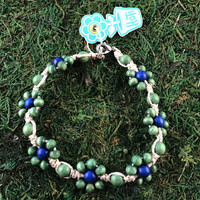 HOTI Hemp Handmade Beige Natural Hemp Daisy Chain Signature Flower Power Anklet Green Blue Round Beads Beaded Flowers Floral Ladies Women's Jewellery Woman Girls Ankle Bracelet Hand Crafted Made in Canada Made in Toronto Made in Ontario Boho Chic Clasp-It Lobster Claw Clasp Toronto Ontario Canada Canadian Jewelry