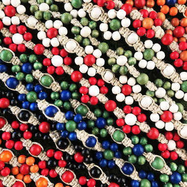 HOTI Hemp Handmade Beige Natural Hemp Daisy Chain Signature Flower Power Anklet White Red Blue Green Caramel Brown Beige Yellow Orange Black Pink Coral Fuchsia Wood Round Beads Beaded Flowers Floral Ladies Women's Jewellery Woman Girls Ankle Bracelet Hand Crafted Made in Canada Made in Toronto Made in Ontario Boho Chic Clasp-It Lobster Claw Clasp Toronto Ontario Canada Canadian Jewelry