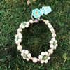 HOTI Hemp Handmade Beige Natural Hemp Daisy Chain Signature Flower Power Anklet Green White Round Beads Beaded Flowers Floral Ladies Women's Jewellery Woman Girls Ankle Bracelet Hand Crafted Made in Canada Made in Toronto Made in Ontario Boho Chic Clasp-It Lobster Claw Clasp Toronto Ontario Canada Canadian Jewelry