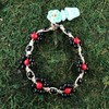 HOTI Hemp Handmade Beige Natural Hemp Daisy Chain Signature Flower Power Anklet Black Red Round Beads Beaded Flowers Floral Ladies Women's Jewellery Woman Girls Ankle Bracelet Hand Crafted Made in Canada Made in Toronto Made in Ontario Boho Chic Clasp-It Lobster Claw Clasp Toronto Ontario Canada Canadian Jewelry