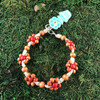 HOTI Hemp Handmade Beige Natural Hemp Daisy Chain Signature Flower Power Anklet Caramel Brown Red Round Beads Beaded Flowers Floral Ladies Women's Jewellery Woman Girls Ankle Bracelet Hand Crafted Made in Canada Made in Toronto Made in Ontario Boho Chic Clasp-It Lobster Claw Clasp Toronto Ontario Canada Canadian Jewelry