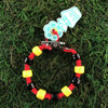 HOTI Hemp Handmade Red Hemp Hockey Puck Drop Yellow Black Glass Crow Beads Mens Man Roach Clip Bracelet Hand Crafted Jewellery Made in Toronto Made in Ontario Made in Canada Beaded Crow Beads Glass Beads 420 Cannabis Marijuana Accessory Weed Pot Stoner Accessories Clip It Alligator Clip Clasp Toronto Ontario Canada Canadian NHL Inspired Men's Jewelry