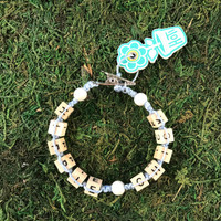 HOTI Hemp Handmade Hippie Chick Pale Light Blue Hemp Square Wood Cube Alphabet Brown Natural Beads White Round Bead Women's Ladies Woman Beaded Jewellery Word Up Roach Clip Bracelet Hand Crafted Made in Toronto Made in Ontario Made in Canada Beaded Wood Beads Square Beads 420 Cannabis Accessory Marijuana Weed Accessories Dope Stoner Gift Pot Mini Metal Alligator Clip Clip It Clip Toronto Ontario Canada Canadian Jewelry