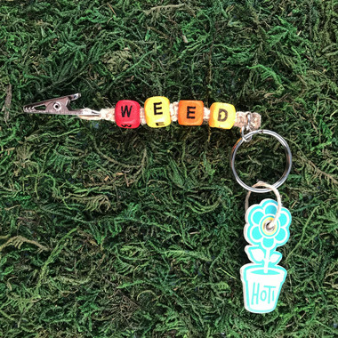 HOTI Hemp Handmade Weed Natural Hemp Keychain Key Chain Wood Cube Square Alphabet Beads Multi Colour Yellow Red Orange Word Up Roach Clip Made in Canada Hand Crafted Made in Toronto Made in Ontario Beaded Weed Pot Accessory Cannabis Marijuana Accessories Stoner Gift Mary Jane 420 Clip-It Alligator Clip Canadian Toronto Ontario Canada
