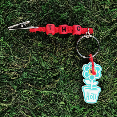 HOTI Hemp Handmade THC Red Hemp Keychain Key Chain Wood Cube Square Alphabet Beads Word Up Roach Clip Made in Canada Hand Crafted Made in Toronto Made in Ontario Beaded Weed Pot Accessory Cannabis Marijuana Pot Accessories Dope Stoner Gift Mary Jane 420 Clip-It Alligator Clip Canadian Toronto Ontario Canada