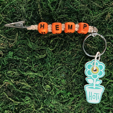 HOTI Hemp Handmade HEMP Natural Hemp Keychain Key Chain Wood Cube Square Orange Alphabet Beads Word Up Roach Clip Made in Canada Hand Crafted Made in Toronto Made in Ontario Beaded Weed Pot Accessory Cannabis Marijuana Pot Accessories Dope Stoner Gift Mary Jane 420 Clip-It Alligator Clip Canadian Toronto Ontario Canada Canadian