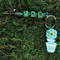 HOTI Hemp Handmade THC Green Hemp Keychain Key Chain Wood Cube Square Alphabet Beads Word Up Roach Clip Made in Canada Hand Crafted Made in Toronto Made in Ontario Beaded Weed Pot Accessory Cannabis Marijuana Pot Accessories Dope Stoner Gift Mary Jane 420 Clip-It Alligator Clip Canadian Toronto Ontario Canada Canadian