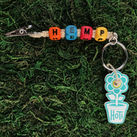 HOTI Hemp Handmade HEMP Natural Hemp Keychain Key Chain Wood Cube Square Orange Turquoise Blue Red Yellow Alphabet Beads Word Up Roach Clip Made in Canada Hand Crafted Made in Toronto Made in Ontario Beaded Weed Pot Accessory Cannabis Marijuana Pot Accessories Dope Stoner Gift Mary Jane 420 Clip-It Alligator Clip Canadian Toronto Ontario Canada