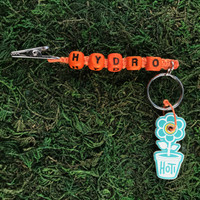 HOTI Hemp Handmade Hydro Orange Hemp Keychain Key Chain Wood Cube Square Alphabet Beads Word Up Roach Clip Made in Canada Hand Crafted Made in Toronto Made in Ontario Beaded Cannabis Accessory Marijuana Mary Jane Dope Weed Pot Accessories 420 Stoner Gift Clip Clip-It Alligator Clip Canadian Toronto Ontario Canada Canadian
