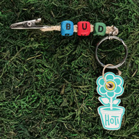 HOTI Hemp Handmade Bud Natural Hemp Keychain Key Chain Wood Turquoise Blue Red Green Cube Square Alphabet Beads Word Up Made in Canada Hand Crafted Made in Toronto Made in Ontario Beaded Roach Clip Marijuana Cannabis Pot Weed Dope Stoner Gift 420 Clip-It Alligator Clip Canadian Toronto Ontario Canada