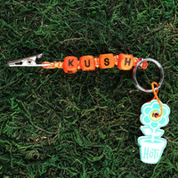 HOTI Hemp Handmade Kush Orange Hemp Keychain Roach Clip Key Chain Wood Cube Square Alphabet Beads Word Up Made in Canada Hand Crafted Made in Toronto Made in Ontario Beaded Weed Pot Accessories Cannabis Marijuana Mary Jane Accessory Dope Stoner Gift 420 Clip-It Alligator Clip Canadian Toronto Ontario Canada