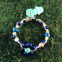 HOTI Hemp Handmade Flower Power Beige Natural Hemp Turquoise Blue Floral Imperfectly Painted Wood Round Beads Women's Ladies Woman Beaded Jewellery Roach Clip Bracelet Hand Crafted Original Signature Spiral Twisted Knots Knotted Made in Toronto Made in Ontario Made in Canada Wood Beads Round Beads 420 Cannabis Accessory Marijuana Mary Jane Weed Accessories Dope Stoner Gift Pot Mini Metal Alligator Clip Clip It Clip Toronto Ontario Canada Canadian Jewelry