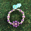 HOTI Hemp Handmade Flower Power Beige Natural Hemp Pale Light Matte Purple Floral Imperfectly Painted Wood Round Beads Women's Ladies Woman Beaded Jewellery Roach Clip Bracelet Hand Crafted Original Signature Spiral Twisted Knots Knotted Made in Toronto Made in Ontario Made in Canada Wood Beads Round Beads 420 Cannabis Accessory Marijuana Mary Jane Weed Accessories Dope Stoner Gift Pot Mini Metal Alligator Clip Clip It Clip Toronto Ontario Canada Canadian Jewelry