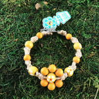 HOTI Hemp Handmade Flower Power Beige Natural Hemp Yellow Floral Imperfectly Painted Wood Round Beads Women's Ladies Woman Beaded Jewellery Roach Clip Bracelet Hand Crafted Original Signature Spiral Twisted Knots Knotted Made in Toronto Made in Ontario Made in Canada Wood Beads Round Beads 420 Cannabis Accessory Marijuana Mary Jane Weed Accessories Dope Stoner Gift Pot Mini Metal Alligator Clip Clip It Clip Toronto Ontario Canada Canadian Jewelry
