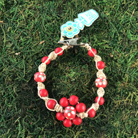 HOTI Hemp Handmade Flower Power Beige Natural Hemp Red Floral Imperfectly Painted Wood Round Beads Women's Ladies Woman Beaded Jewellery Roach Clip Bracelet Hand Crafted Original Signature Spiral Twisted Knots Knotted Made in Toronto Made in Ontario Made in Canada Wood Beads Round Beads 420 Cannabis Accessory Marijuana Mary Jane Weed Accessories Dope Stoner Gift Pot Mini Metal Alligator Clip Clip It Clip Toronto Ontario Canada Canadian Jewelry