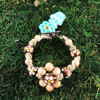 HOTI Hemp Handmade Flower Power Beige Natural Hemp Light Brown Floral Imperfectly Painted Wood Round Beads Women's Ladies Woman Beaded Jewellery Roach Clip Bracelet Hand Crafted Original Signature Spiral Twisted Knots Knotted Made in Toronto Made in Ontario Made in Canada Wood Beads Round Beads 420 Cannabis Accessory Marijuana Mary Jane Weed Accessories Dope Stoner Gift Pot Mini Metal Alligator Clip Clip It Clip Toronto Ontario Canada Canadian Jewelry
