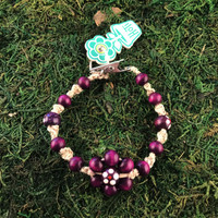 HOTI Hemp Handmade Flower Power Beige Natural Hemp Purple Floral Imperfectly Painted Wood Round Beads Women's Ladies Woman Beaded Jewellery Roach Clip Bracelet Hand Crafted Original Signature Spiral Twisted Knots Knotted Made in Toronto Made in Ontario Made in Canada Wood Beads Round Beads 420 Cannabis Accessory Marijuana Mary Jane Weed Accessories Dope Stoner Gift Pot Mini Metal Alligator Clip Clip It Clip Toronto Ontario Canada Canadian Jewelry