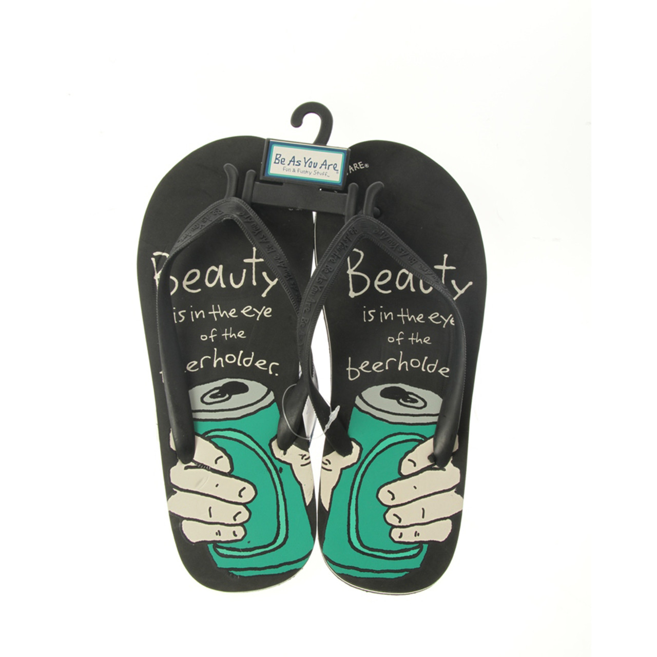 d9d27fe80e8b Be As You Beauty Beerholder Flip Flops Thongs Black Shoes - Sunshine on a Cloudy  Day