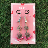 HOTI Hemp Handmade Floral Bells of Joy Antique Pink Metallic Women's Ladies Woman Her Flower Power Roach Clip Earrings Dangling Metal Hollow Petal Charm Hand Crafted Made in Toronto Made in Ontario Made in Canada Flowers Mini Steel Bell Signature Sterling Silver Ear Wires Paper Earring Card 420 Alligator Clips Marijuana Mary Jane Cannabis Clip It Roach Clips Dope Stoner Gift Toronto Ontario Canada Canadian Valentine's Day