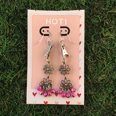 HOTI Hemp Handmade Floral Bells of Joy Antique Silver Pink Purple Metallic Women's Ladies Woman Her Flower Power Roach Clip Earrings Dangling Metal Hollow Petal Charm Hand Crafted Made in Toronto Made in Ontario Made in Canada Flowers Mini Steel Bell Signature Sterling Silver Ear Wires Paper Earring Card 420 Alligator Clips Marijuana Mary Jane Cannabis Clip It Roach Clips Dope Stoner Gift Toronto Ontario Canada Canadian Valentine's Day