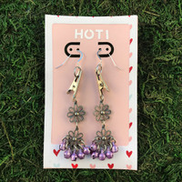 HOTI Hemp Handmade Floral Bells of Joy Antique Silver Pale Light Purple Metallic Women's Ladies Woman Her Flower Power Roach Clip Earrings Dangling Metal Hollow Petal Charm Hand Crafted Made in Toronto Made in Ontario Made in Canada Flowers Mini Steel Bell Signature Sterling Silver Ear Wires Paper Earring Card 420 Alligator Clips Marijuana Mary Jane Cannabis Clip It Roach Clips Dope Stoner Gift Toronto Ontario Canada Canadian Valentine's Day