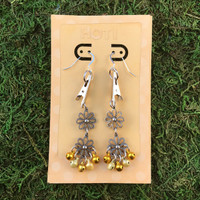 HOTI Hemp Handmade Floral Bells of Joy Antique Silver Yellow Gold Metallic Women's Ladies Woman Her Flower Power Roach Clip Earrings Dangling Metal Hollow Petal Charm Hand Crafted Made in Toronto Made in Ontario Made in Canada Flowers Mini Steel Bell Signature Sterling Silver Ear Wires Paper Earring Card 420 Alligator Clips Marijuana Mary Jane Cannabis Clip It Roach Clips Weed Pot Dope Stoner Gift Toronto Ontario Canada Canadian