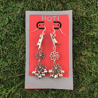 HOTI Hemp Handmade Floral Bells of Joy Antique Silver Metallic Silver Women's Ladies Woman Her Flower Power Roach Clip Earrings Dangling Metal Hollow Petal Charm Hand Crafted Made in Toronto Made in Ontario Made in Canada Flowers Mini Steel Bell Signature Sterling Silver Ear Wires Paper Earring Card 420 Alligator Clips Marijuana Mary Jane Cannabis Clip It Roach Clips Weed Pot Dope Stoner Gift Toronto Ontario Canada Canadian