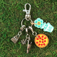 HOTI Handmade Munchies Pepperoni Cheese Pizza Deep Dish Pot Pie Beer Bottles Marijuana Leaf Champagne Sparkling Wine Keyfinder Keychain Roach Clip Charms Key Chain Repurposed Cork Upcycled Reused Used Antique Silver Pewter Metal Six Pack Brewski Case Charm Ladies Women's Men's Unisex Charming Collection Made in Canada Hand Crafted Made in Toronto Made in Ontario Lobster Claw Clasps Swivel Clip 420 Cannabis Accessory Marijuana Weed Pot Accessories Clip-It Alligator Clip Dope Stoner Gift Toronto Ontario Canada Canadian