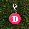 HOTI Handmade Pink White Custom Capital Letter Inital Champagne Sparkling Wine Monogram Upper Case Font Keyfinder Keychain Roach Clip Charm Key Chain Repurposed Cork Slice Upcycled Reused Painted Used Decorated Charm Ladies Women's Men's Unisex Charming Collection Made in Canada Hand Crafted Made in Toronto Made in Ontario Lobster Claw Clasp Gift Toronto Ontario Canada Canadian