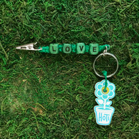 HOTI Hemp Handmade Love Green Hemp Keychain Roach Clip Key Chain Wood Cube Square Alphabet Beads Word Up Made in Canada Hand Crafted Made in Toronto Made in Ontario Beaded Weed Pot Accessories Cannabis Marijuana Mary Jane Accessory Dope Stoner Gift 420 Clip-It Alligator Clip Canadian Toronto Ontario Canada Handcrafted