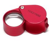 Aluminum Red Jeweler's Loupe 10x 21mm MK995-8RR