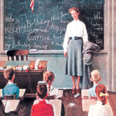 """Norman Rockwell Famous Artist Cleaning Cloth """"Happy Birthday Miss Jones"""""""