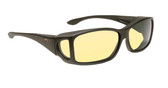 Haven Designer Fitover Sunglasses Rectangular Night Driver in Black & Night Driver Yellow Lens (LARGE)