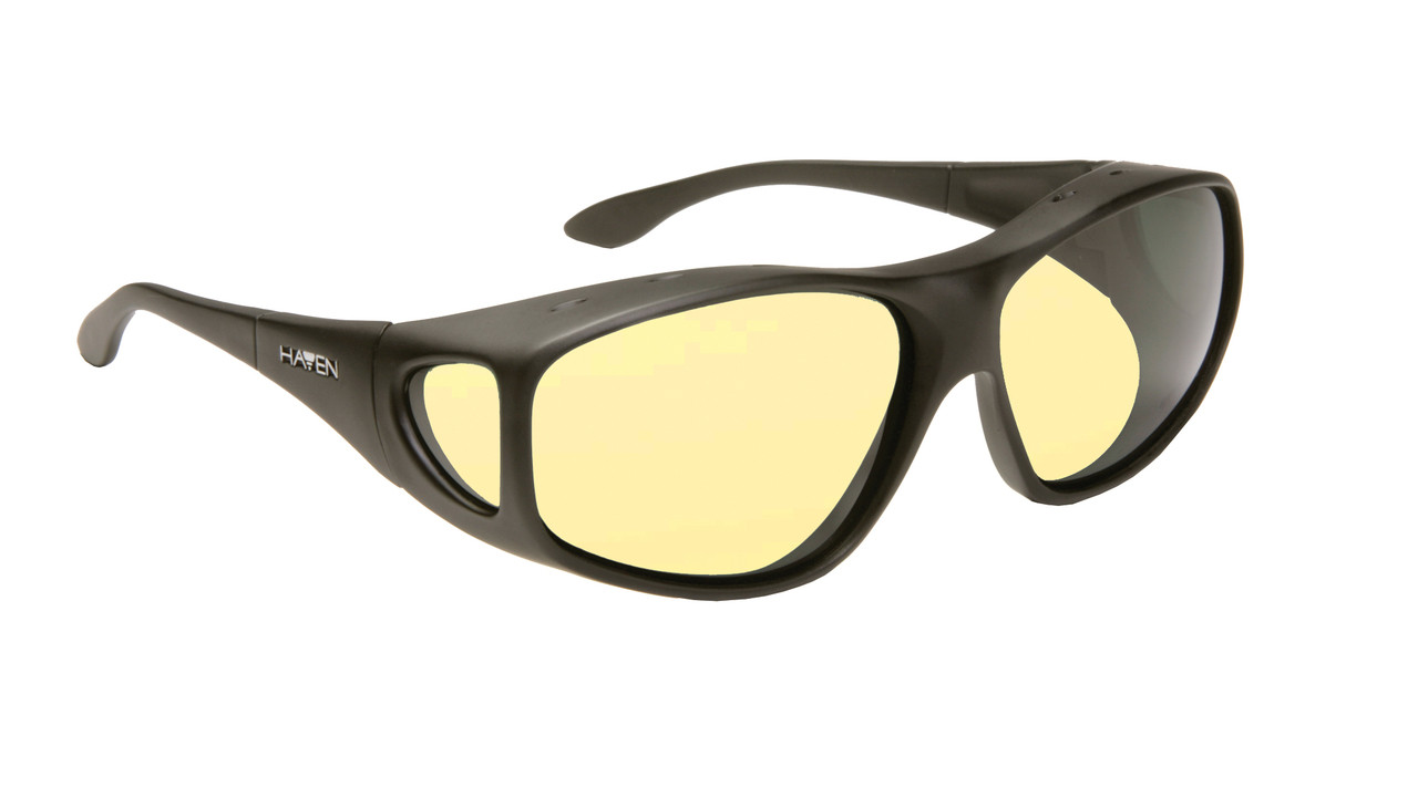 df41eedef7d5 Haven Designer Fitover Sunglasses Night Driver in Black   Night Driver  Yellow Lens (XL)